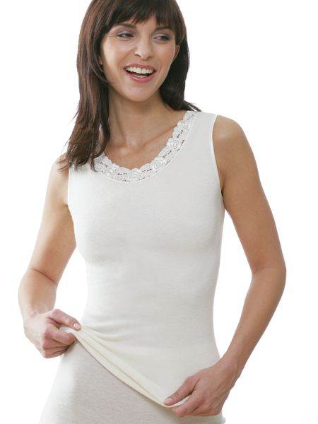Dames hemd 2577 zonder mouw met kant